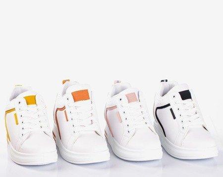 Бело-оранжевые кроссовки на внутренней танкетке для дома Marcja - Обувь