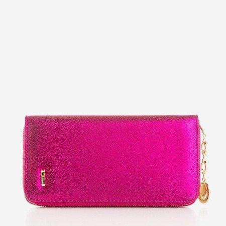 Большой глянцевый женский кошелек розового цвета - Кошелек
