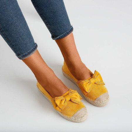 Желтые ажурные эспадрильи на платформе с бантом Mimilla - Обувь