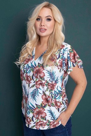 Женская белая блузка PLUS SIZE с цветочным принтом - Блузки
