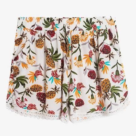 Женские белые шорты с ананасом - Одежда