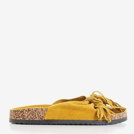 Женские горчичные тапочки с бахромой Mua - Обувь