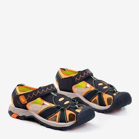 Женские черные спортивные сандалии с оранжевыми вставками Rima - Обувь