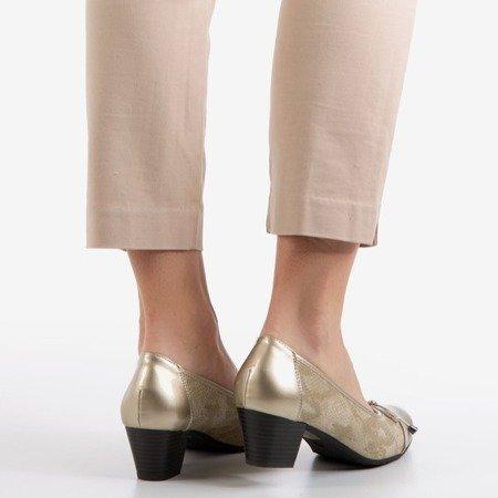 Золотые женские туфли-лодочки на низкой стойке Ruella - Обувь