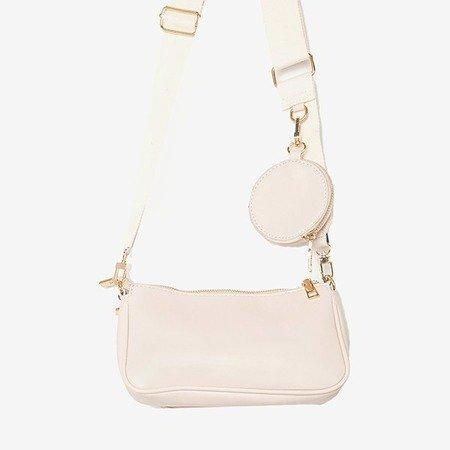 Маленькая женская сумочка из трех частей бежевого цвета - Сумочки