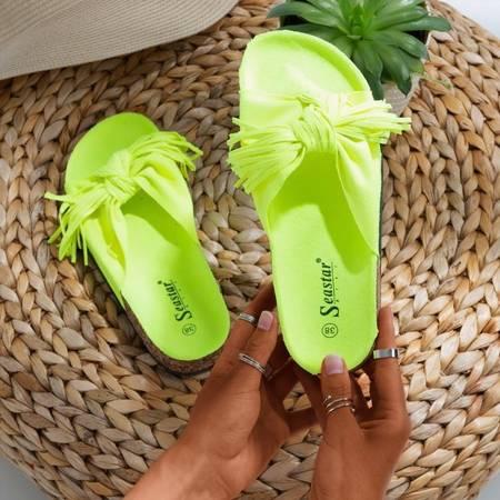 Неоново-желтые женские тапочки с бахромой Amassa - Обувь