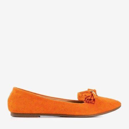 Оранжевые балетки с кружевной отделкой - Обувь