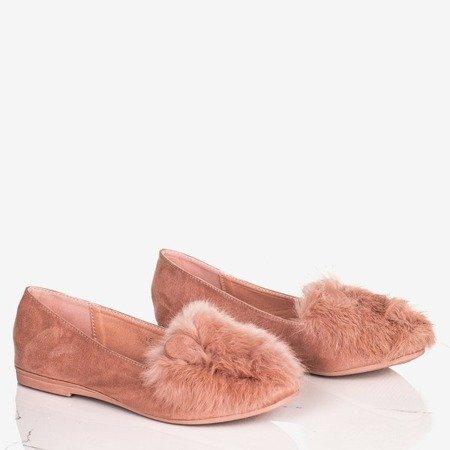Розовые женские балетки с мехом и ушками Дарья - Обувь
