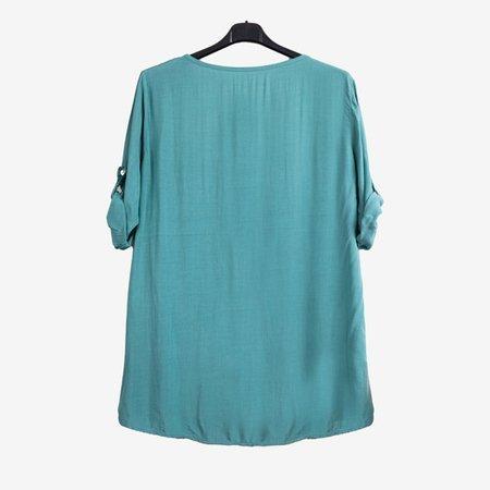 Светло-зеленая женская туника с принтом и надписями - Одежда