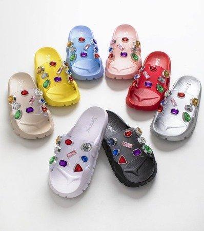 Светло-розовые тапочки с камешками тамариц - Обувь