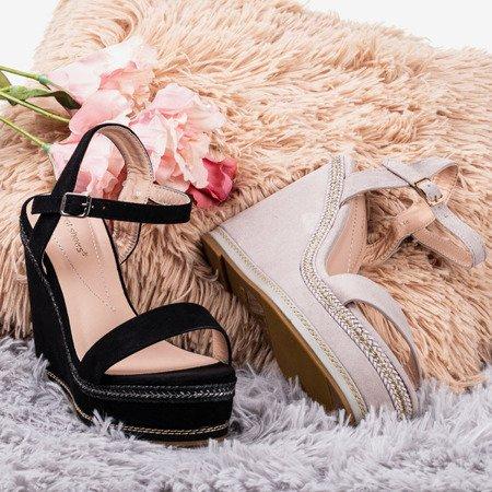 Светло-серые сандалии Demeter на танкетке - Обувь