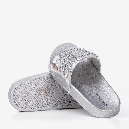 Серебряные тапочки на цепочке Slivien - Обувь