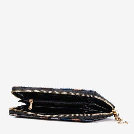 Синий лакированный женский кошелек с принтом - Кошелек