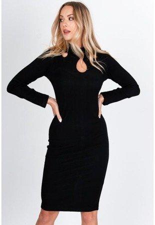 Черное платье-миди с вырезами - Одежда