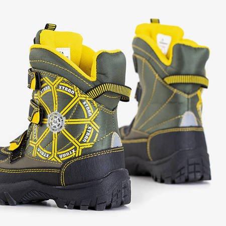 Черно-зеленые зимние ботинки для мальчиков от Юко - Обувь