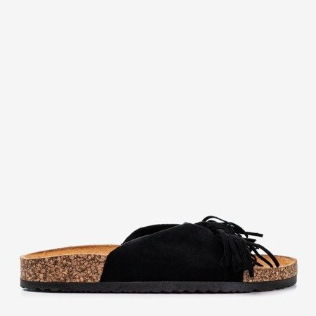 Черно-коричневые женские тапочки Amassa с бахромой - Обувь