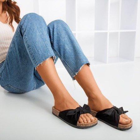 Черные женские тапочки с солнцем и забавным бантом - Обувь