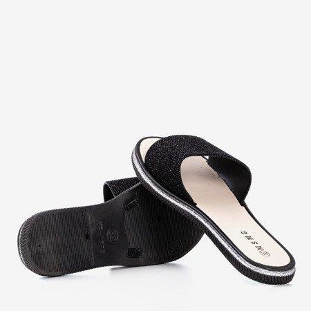 Черные женские тапочки с фианитами Rocca - Обувь