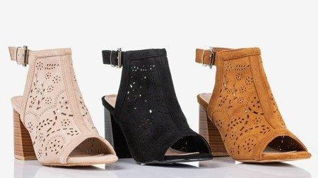 Черные сандалии на более высокой стойке Meamoss - Обувь