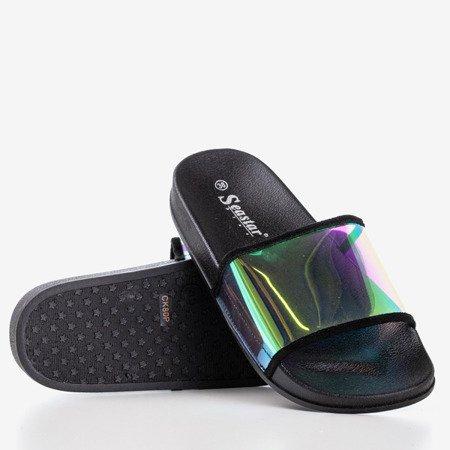Черные тапочки с голографической полосой Blide - Обувь