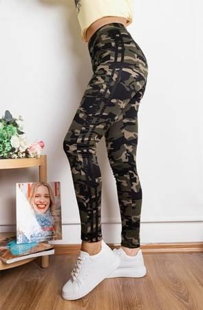 женские камуфляжные тренги с черными полосками - Одежда