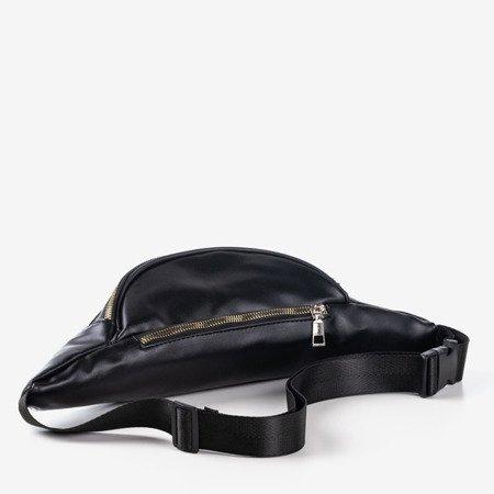 Czarna półokrągła torebka z napisem - Torebki