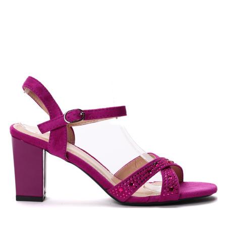 Fioletowe sandały na słupku- Obuwie