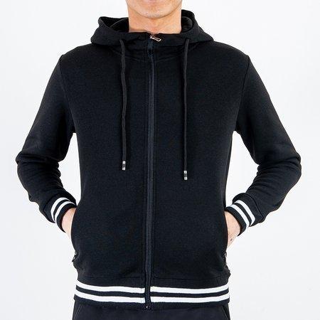 Мужской теплый черный свитшот в полоску - Одежда