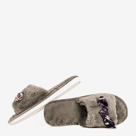 Серые женские тапочки с мехом Worren - Обувь