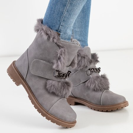 Серые женские зимние сапоги на меху Enila - Обувь