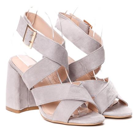 Szare sandały na słupku Belen - Obuwie