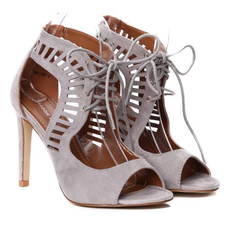 Szare sandały na szpilce- Obuwie