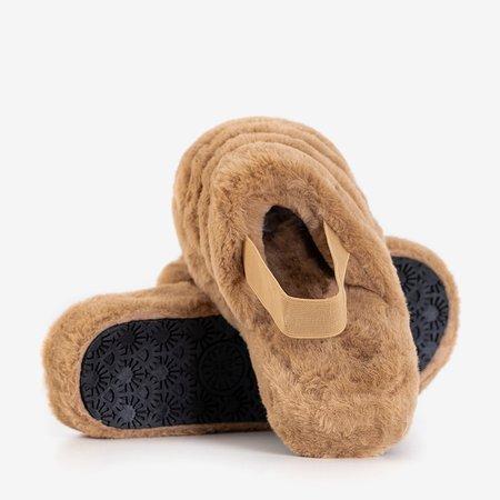 Женские меховые тапочки Fornax светло-коричневые - обувь