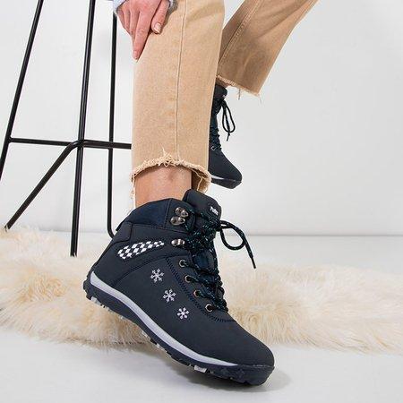 Зимние женские ботинки темно-синего цвета со снежинками Sniesavo - Обувь