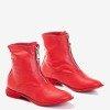 Женские красные ботильоны на плоском каблуке Клюня - Обувь