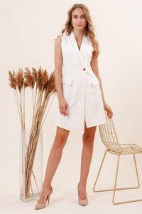 Кремовое платье - накидка без рукавов - Одежда