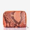 Маленький кошелек неоново-оранжевого цвета под змеиную кожу - Кошелек