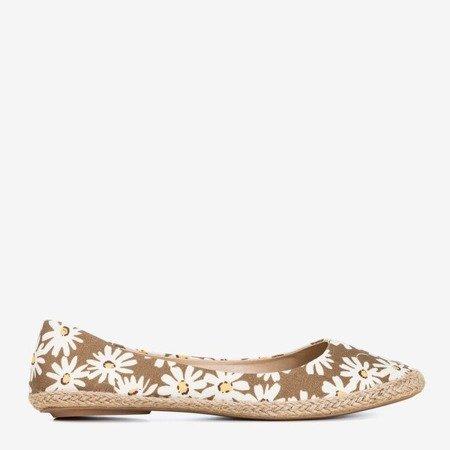 Балетки коричневі жіночі з квітами Flosta - Взуття 1