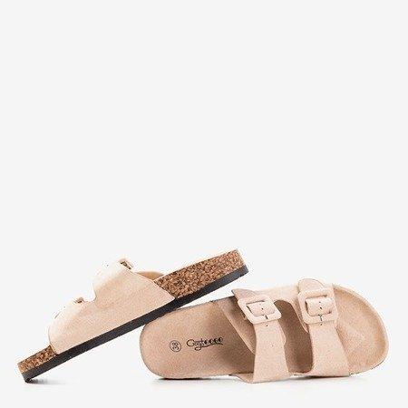Бежеві жіночі шльопанці з пряжками Recasa - Взуття 1