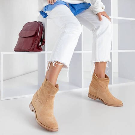 Бежеві черевики типу ковбойські на прихованій танкетці Terband - Взуття