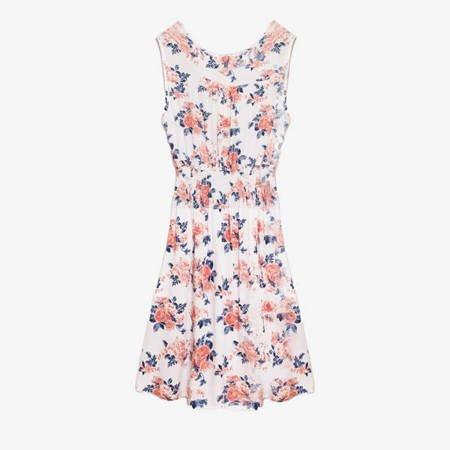 Біле плаття над коліном з квітами - Одяг 1