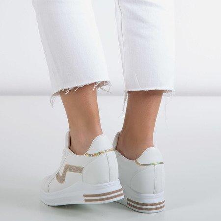 Біле спортивне взуття на закритому клині із золотими вставками Say It - Взуття 1