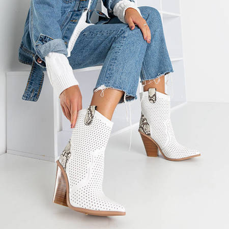 Білі ажурні ковбойські черевики з тисненням на зміїній шкірі Qiana - Взуття