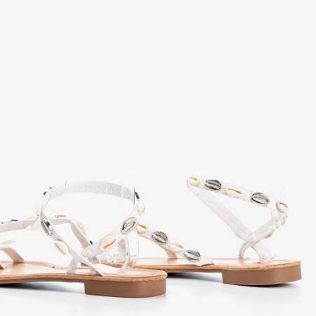 Білі жіночі босоніжки з оболонками - Взуття 1