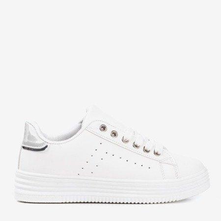 Білі жіночі кросівки на платформі зі срібною вставкою Jaque - Взуття 1