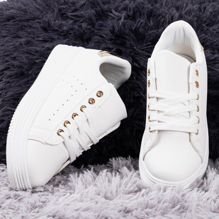 Білі жіночі кросівки на платформі із золотою вставкою Jaque - Взуття 1