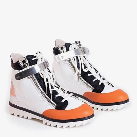 Білі спортивні черевики з помаранчевими вставками Krillas