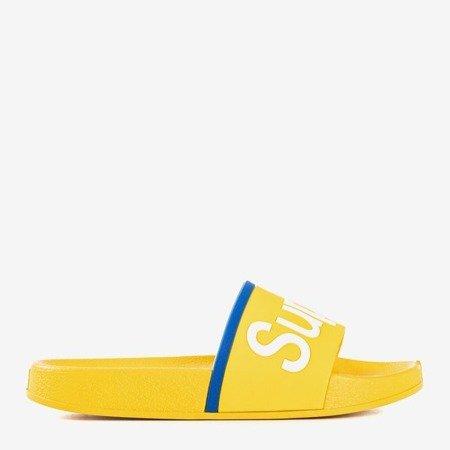 Жовті дитячі тапочки з написом Super - Взуття
