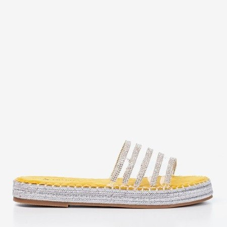 Жовті прозорі тапочки з фіанітом Noumeia - Взуття