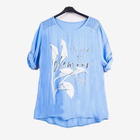Жіноча синя туніка з принтом та написами - Блузки 1
